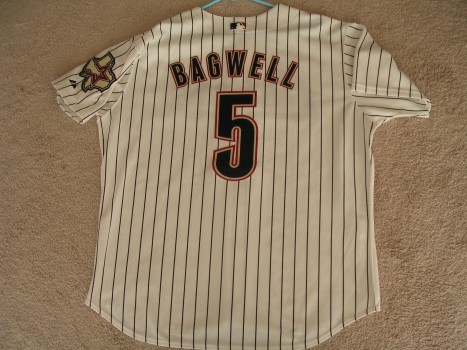 Jeff Bagwell 2002 Home Pinstripe Back View